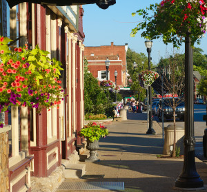 Colorful sidewalk with quaint shops and flowers in Chagrin Falls Ohio ** Note: Shallow depth of field